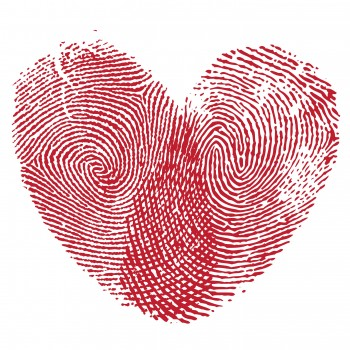 Vector heart, man and woman fingerprint valentine romantic background. Design element.